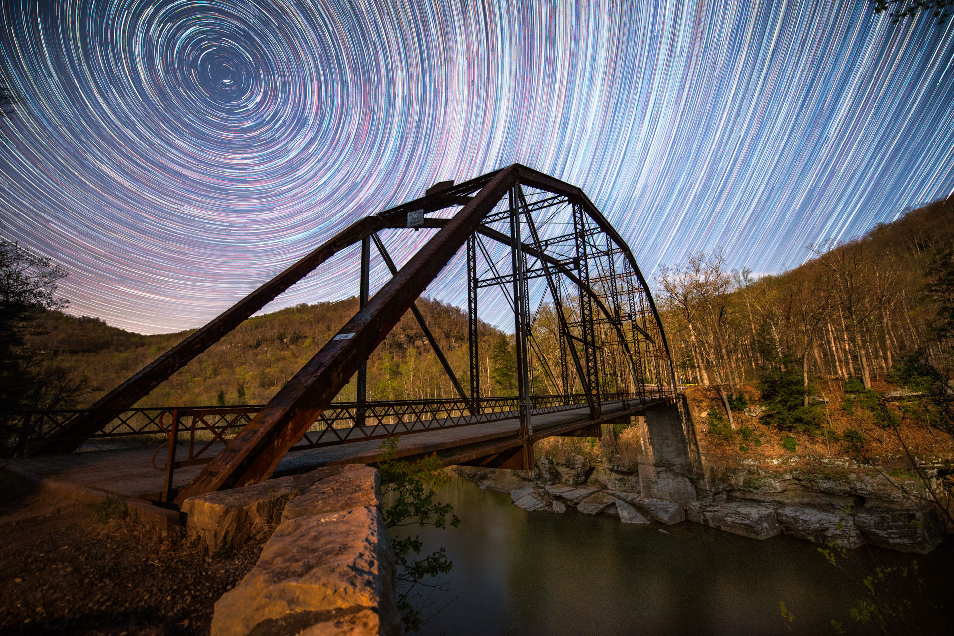 Allegheny Trail, Cheat River, Friends of the Cheat, Gabe DeWitt, Night Photography, Places, Star trails, Stars, TNC, The Nature Conservancy, The Nature Conservancy Magazine, West Virginia, night, photo by Gabe DeWitt, spring