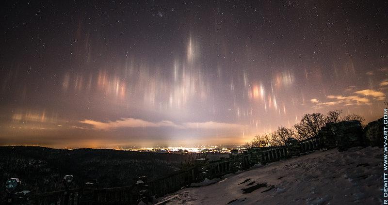 Light Pillars over Morgantown, WV - From Coopers Rocks Overlook